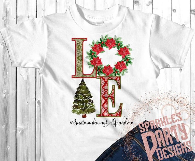 Grandma Love Christmas Tree Wreath Poinsettia Sublimation image 0