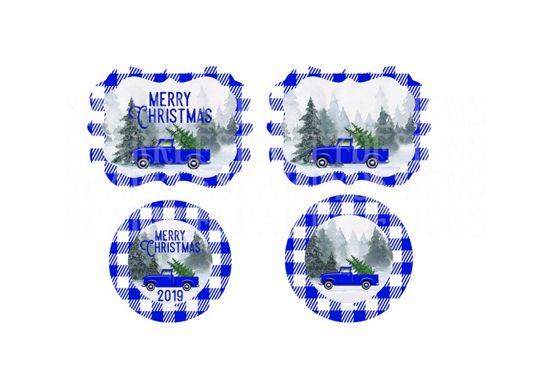 Buffalo Plaid Blue Truck Christmas Round and Benelux Ornament image 0