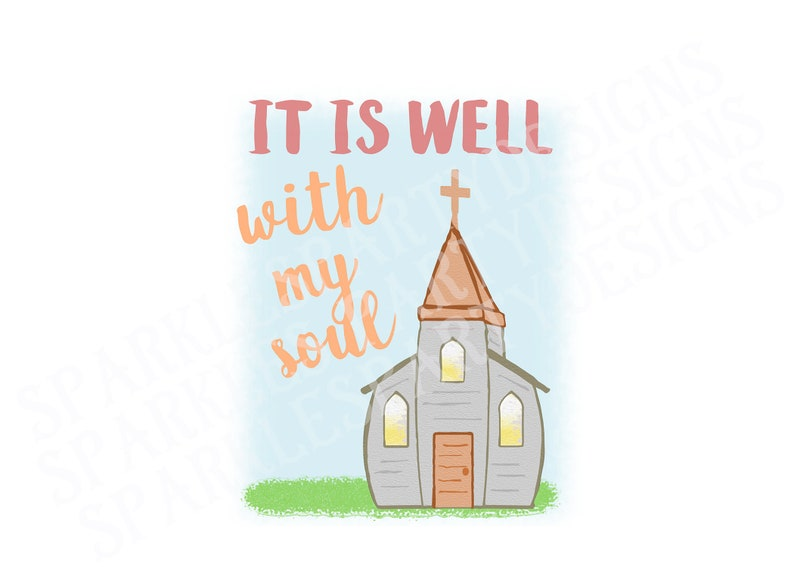 Pastel Old White Church It is Well  Sublimation Graphics image 0