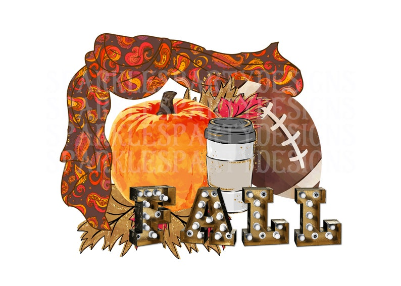 Fall Colorful Scarf Pumpkins Cup Football Sublimation Graphics image 0