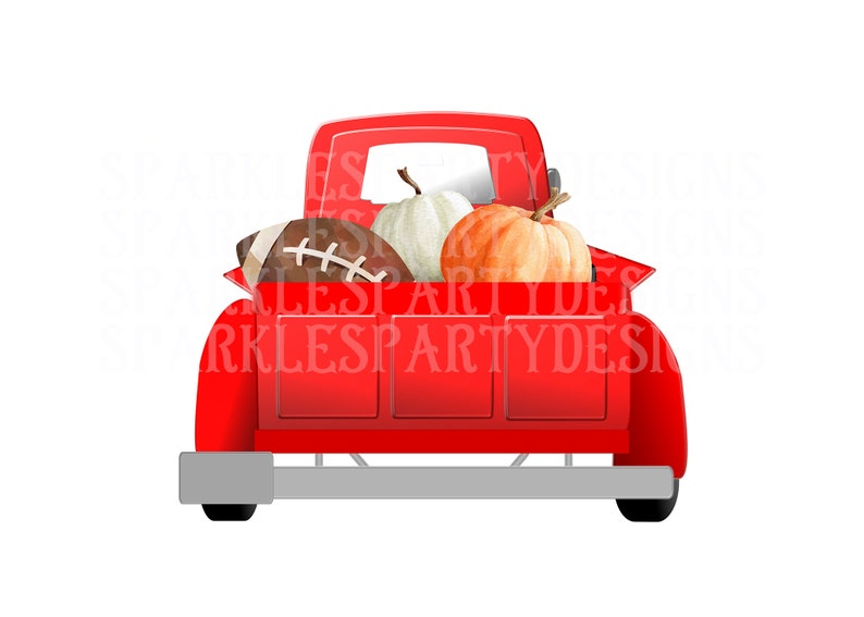Fall Red Truck Pumpkins Sublimation Graphics Designs image 0
