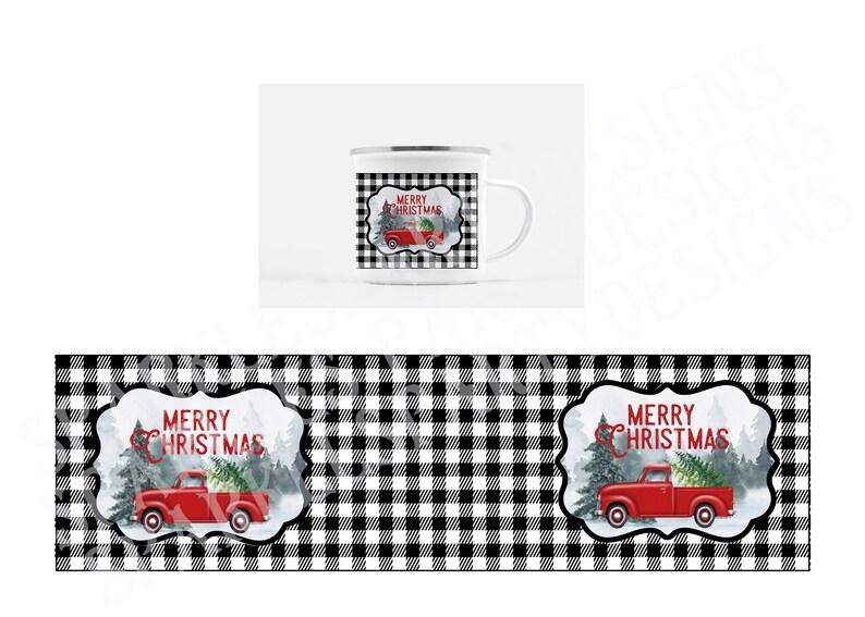 Buffalo Plaid Christmas Red Truck camp mug coaster sublimation image 0