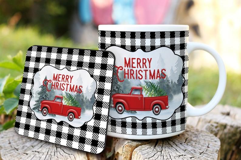 Buffalo Plaid Christmas Red Truck coffee mug coaster image 0