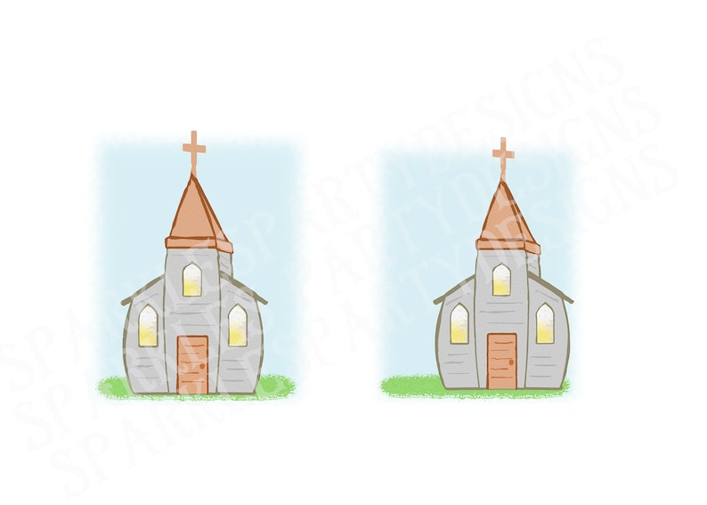 Pastel Old White Church Sublimation Graphics Designs image 0