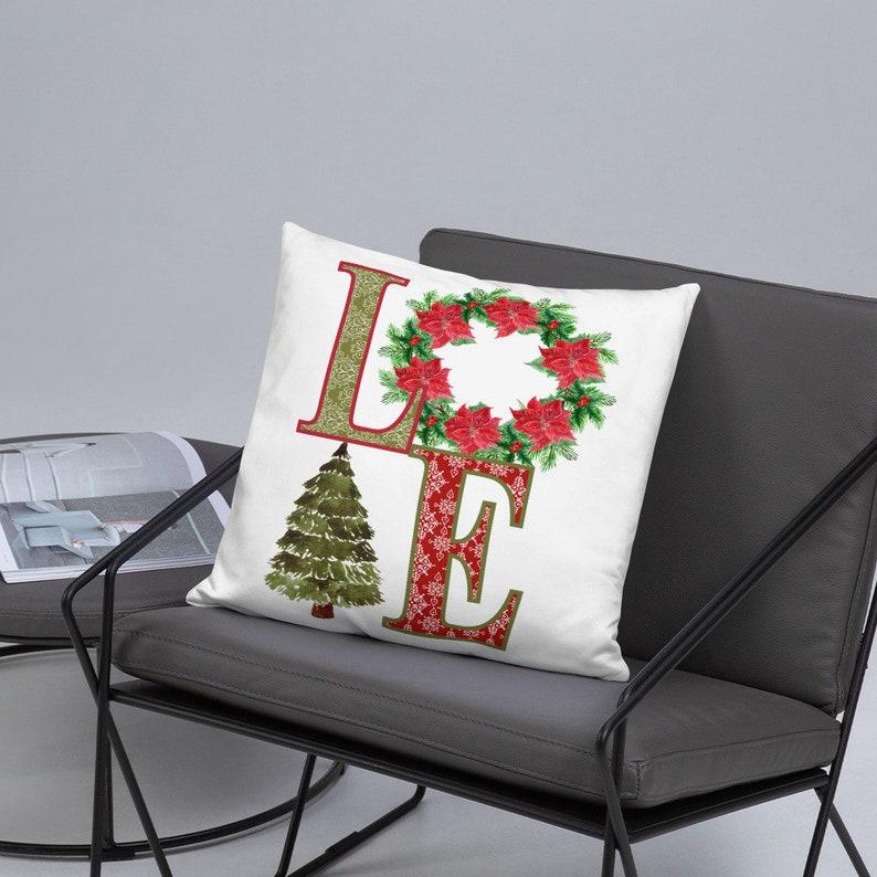 Love Christmas Tree Wreath Poinsettia Sublimation Graphics image 0