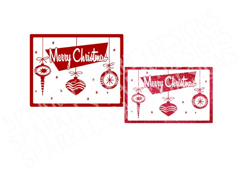 Christmas svg Merry Christmas with ornaments svg Retro image 0