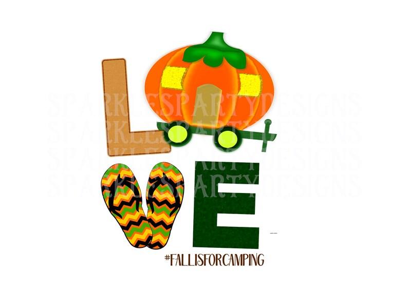 Fall Pumpkin Camper Love Flip Flops Sublimation Graphics image 0
