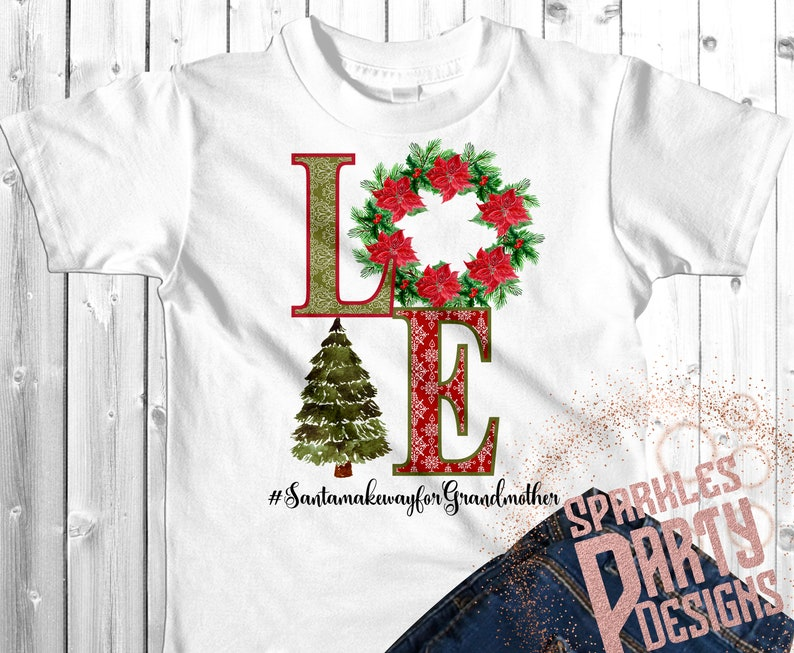 Grandmother  Love Christmas Tree Wreath Poinsettia Sublimation image 0