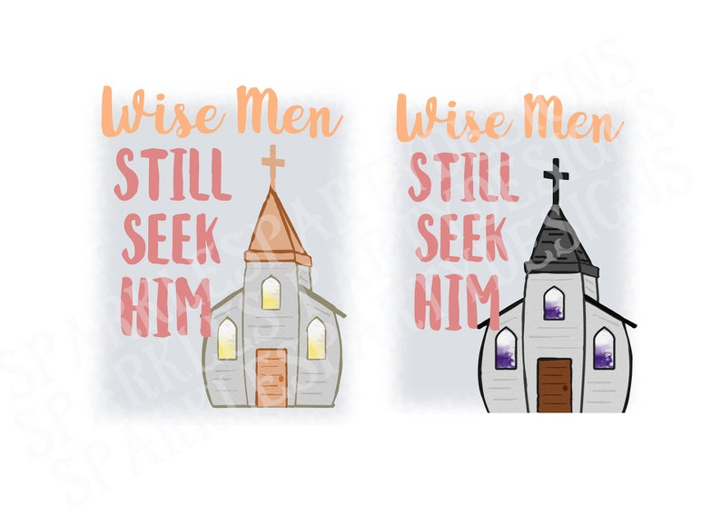 Pastel Old White Church Wise Men Sublimation Graphics Designs image 0