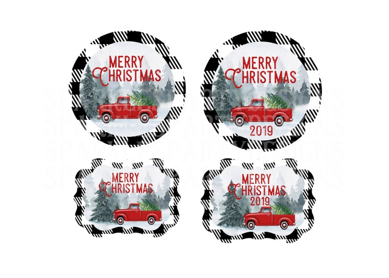 Buffalo Plaid Red Truck Christmas Round and Benelux Ornament image 0