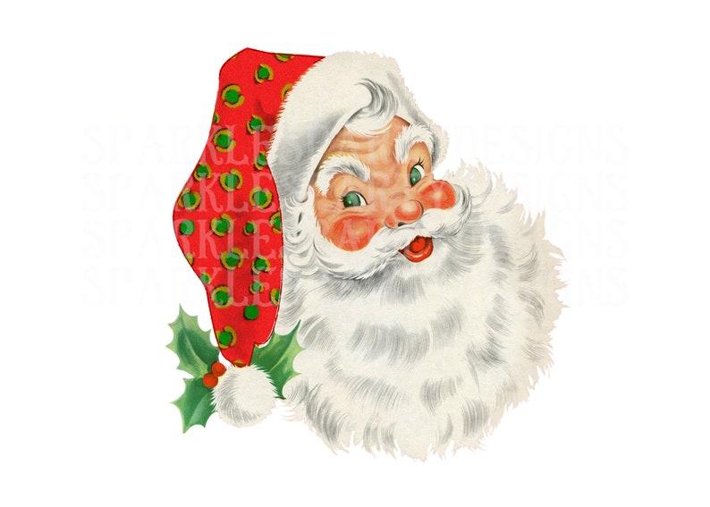 Vintage Santa with leopard print hat sublimation graphics image 0
