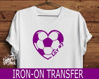 Soccer Heart Name Iron on Personalized gift for soccer player, Soccer Player Iron on for shirt or any fabric
