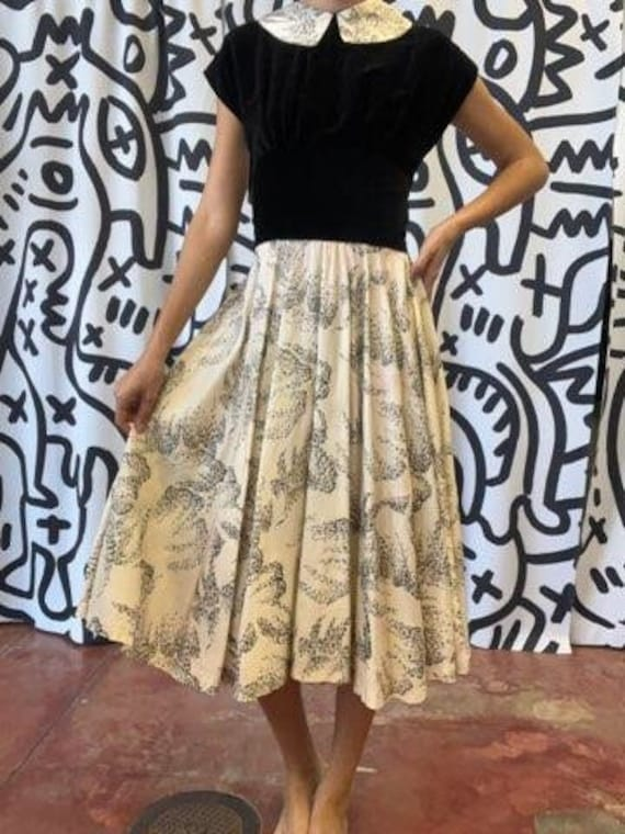 Vintage 1950s Black and White Party Dress, M