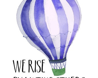 Hot Air Balloon Art Adventure Quote Print Hand Lettering Etsy