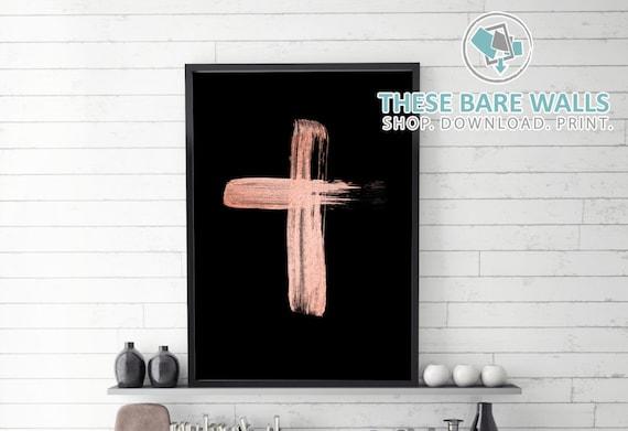 Rose Gold Cross On Black Religious Art Cross Home Decor Etsy