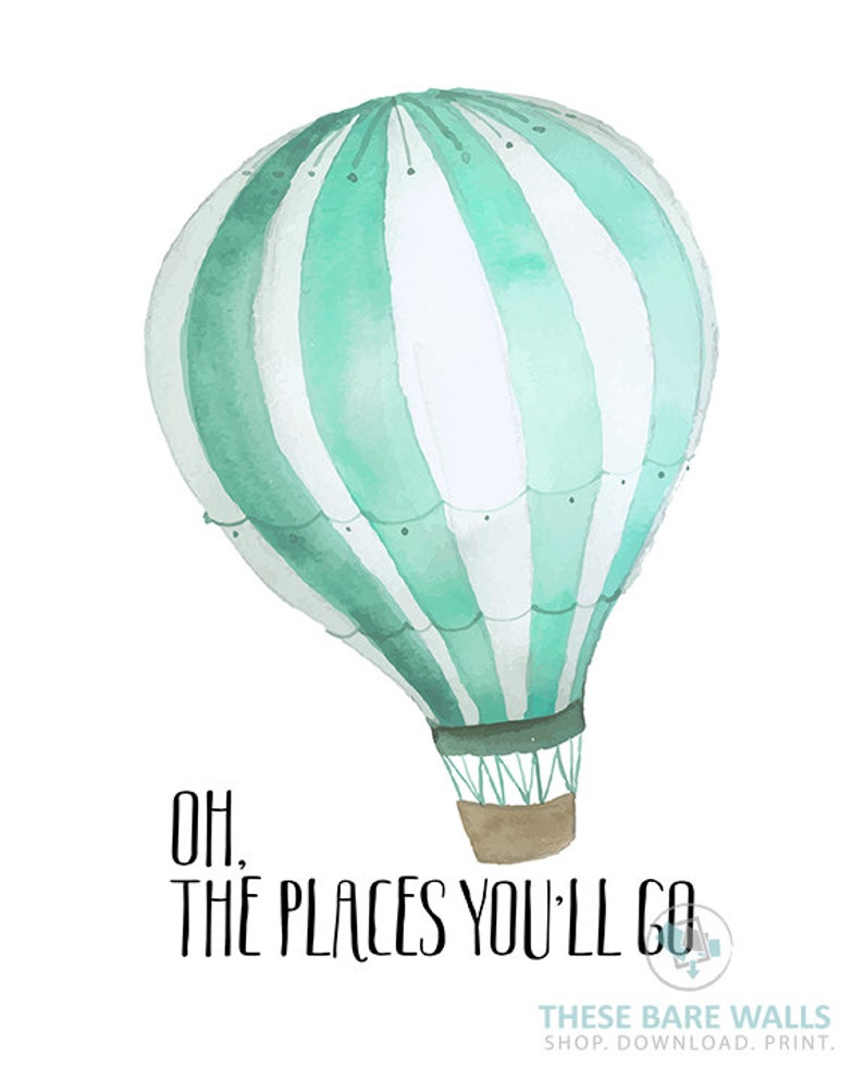 Oh The Places Youll Go Print Mint Hot Air Balloon Etsy