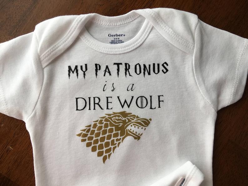 Romper Crawler Unisex Onesie Game of Thrones Baby Girl Funny Onesie Harry Potter Toddler Shirt Baby Boy My Patronus is a Dire Wolf