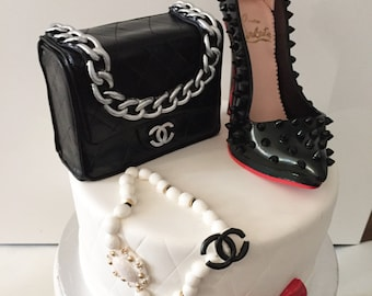 936be83a2bc892 Edible fondant high heel shoe and purse cake toppers also great for sweet  tables