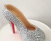 Fondant gumpaste sugar high heel shoe cake topper Christian louboutin bling