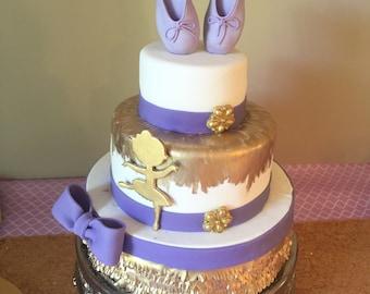 Edible Ballerina slippers cake topper gumpaste/fondant purple ballerina cake