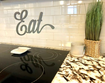 Rustic Metal Script Word Eat