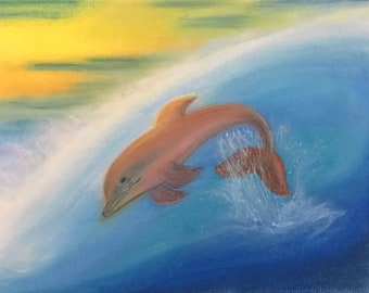 Surfing USA- pastel art, original, one of a kind, remabstracts