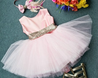 PINK GLAMOR- Girl Dress and Hand-made hair accessory