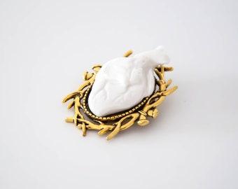 Broche COEUR -bijoux Porcelaine et Laiton  - l'amour fou - bijoux homme - bijoux femme - bijoux ceramique