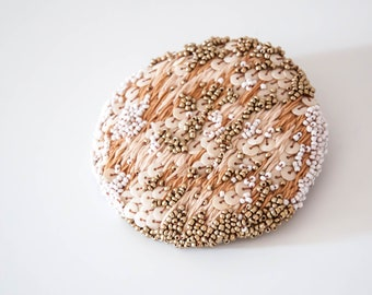 Embroidery - broche broderie sequins perles  - Brodee main - bijoux femme grand format-