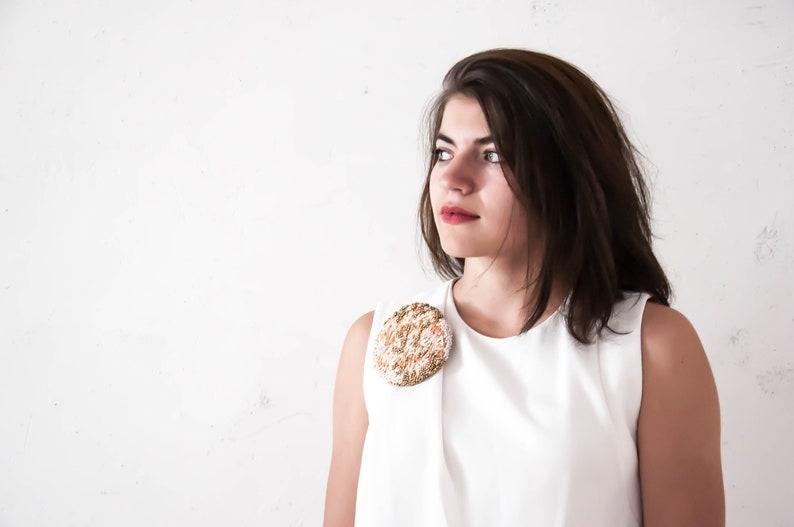 Brodee main Embroidery broche broderie sequins perles bijoux femme grand format-