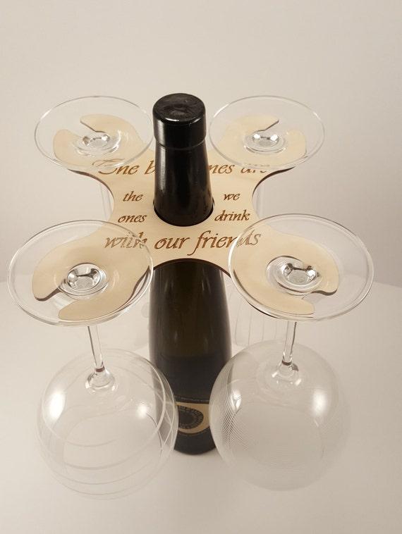 Bois vin Butler - vin accessoires, découpé au Laser, peut contenir 4 verres sur le goulot de la bouteille
