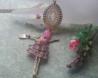 Pink diva necklace