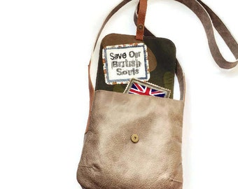 Beige Soft Leather Crossbody Bag Camo Fabric and Floral interior lining British Flag logo Recycled