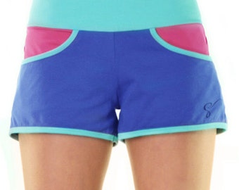 Blue running shorts - cotton shorts - shorts with pockets - workout shorts - turquoise beach shorts - comfy womens shorts - teen shorts
