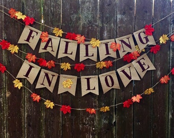 falling in love burlap banner rustic wedding bridal shower engagement party baby shower fall wedding decorations birthday party decor
