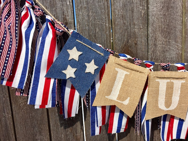 fc074b57709 Customizable Patriotic Baby Shower Banner Rustic Decorations