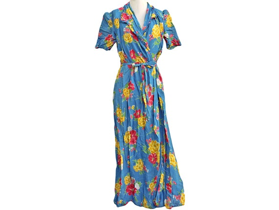 1940s Vintage Rayon Robe Dressing Gown, Blue, Pink