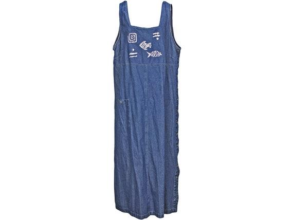 1990s Vintage Denim Overall Dress, Maxi Dress, Jea