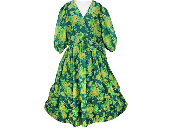50s Vintage Floral Chiffon Dress, Fit and Flare, F