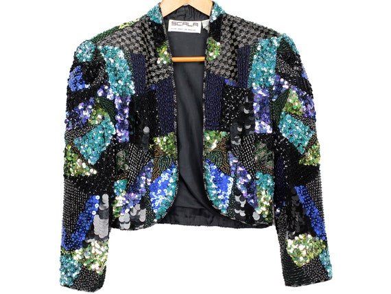 80s Vintage Scala Embellished Silk Jacket, Bolero