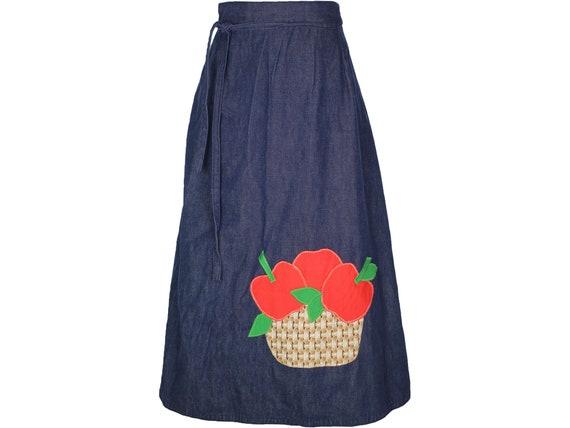 70s Vintage Dark Denim Wrap Skirt, Apple Basket Ap