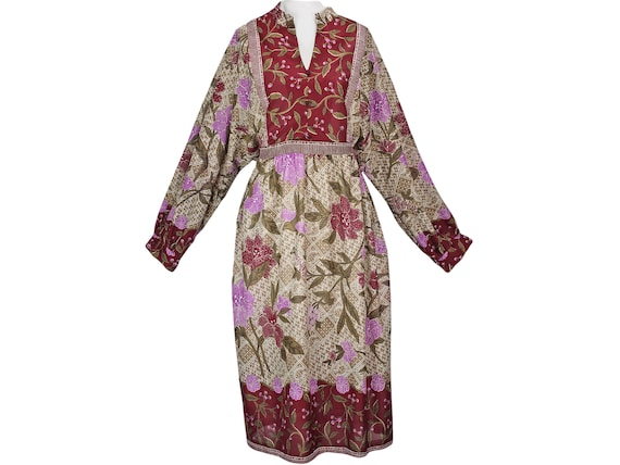 70s Vintage Dress, Bird Scarf Print Dress, Boho, H