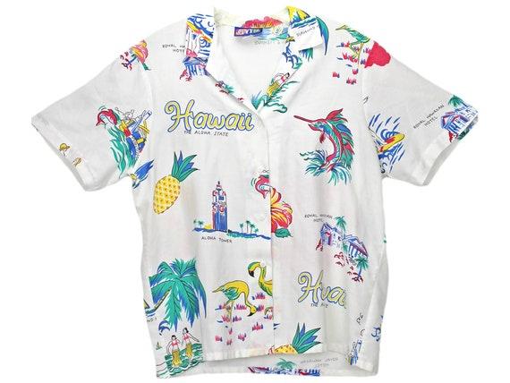 80s Vintage Hawaiian Shirt, Cheryl Tiegs Hawaii Sh