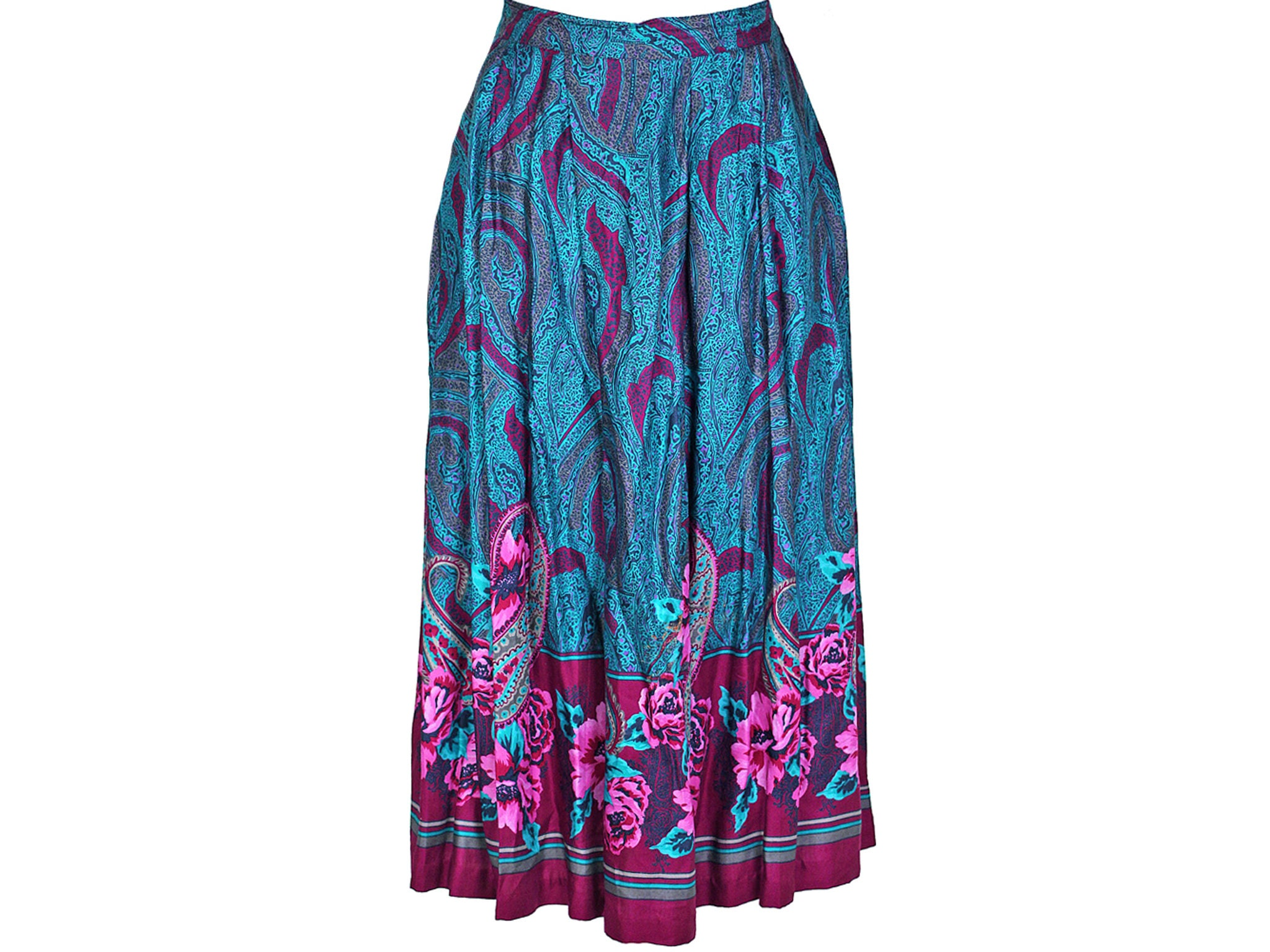 2e844d8fe Dark Blue Floral Midi Skirt