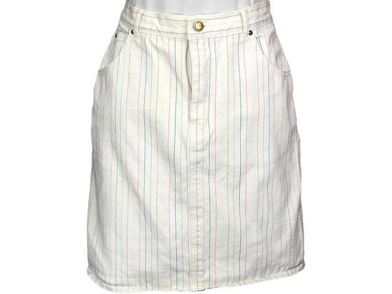 80s Vintage Jordache Denim Skirt, White Denim Jean