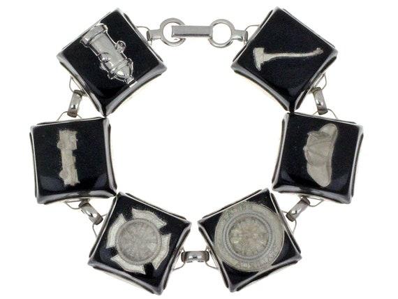 Fire Truck Fire Department Charms Vintage Lucite Silver Tone Medallion Black Hydrant Vintage Embedded Lucite Bracelet Axe Helmet