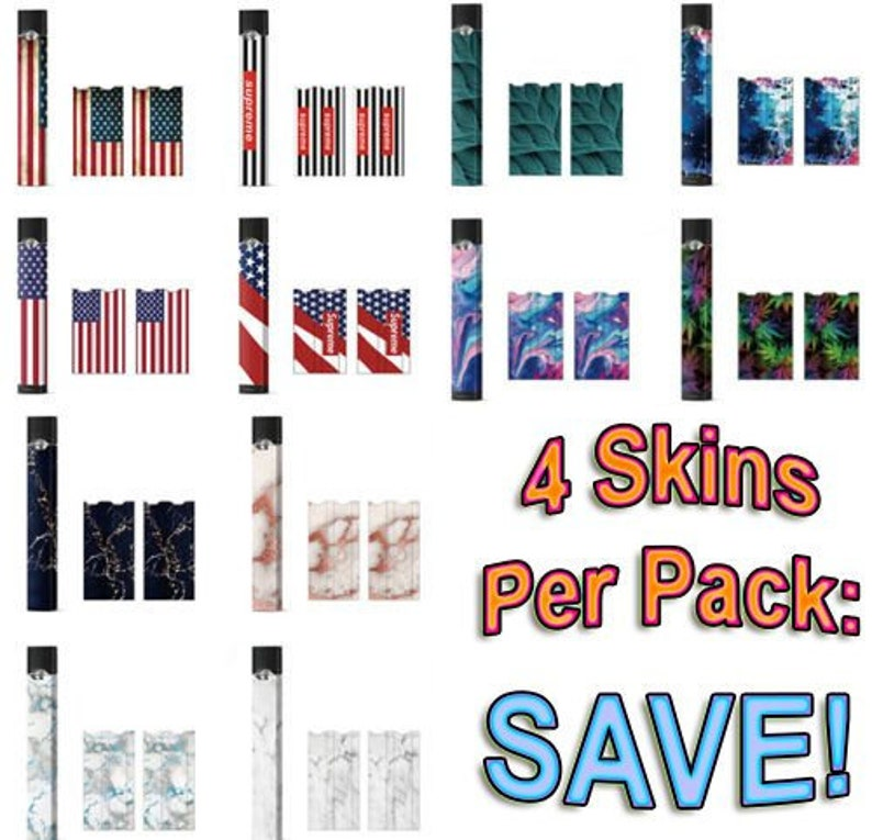 PREMIUM SKINS for JUUL covers full wrap decal sticker 4 pack free shipping  new! - Buy 2 Get 1 Free!