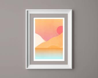 Landschaft Wandkunst, Hügelige Orange Wüste Szene Minimalistischen  Kunstdruck, Wohnzimmer Dekor, Inneneinrichtungen, Moderne Kunst, Abstrakte  Landschaft
