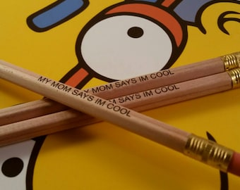 Milhouse Set Of 3 Pencils My Mom Says I'm Cool, The Simpsons, Simpsons Pencils, Cartoon, Collectable Stationary