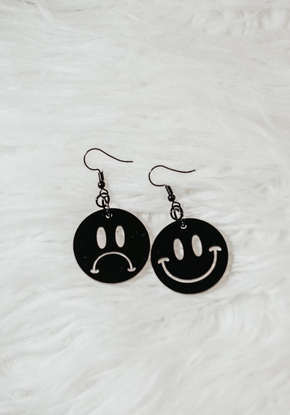 Black happy and sad earrings
